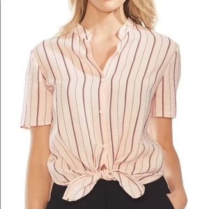 Vince Camuto Tie Front Striped Blouse NWT Small